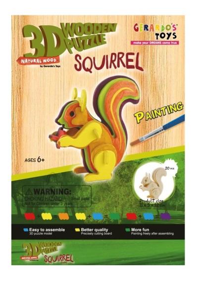Gerardo's Toys puidust 3D pusle Värviline orav