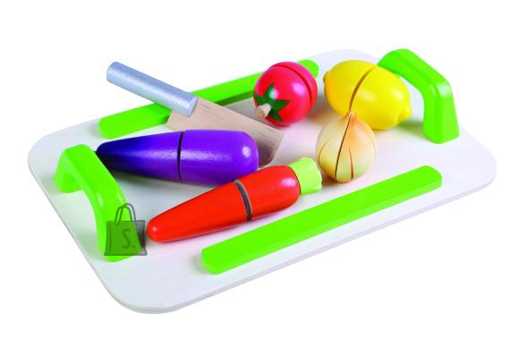Gerardo's Toys Puidust köögiviljad kandikuga