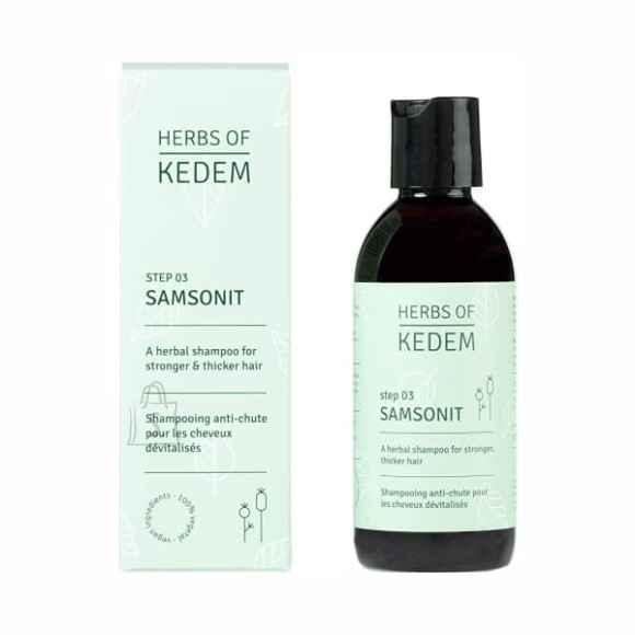 Herbs of Kedem Juukseid tugevdav komplekt: looduslik taimne šampoon + kristaal tilgad