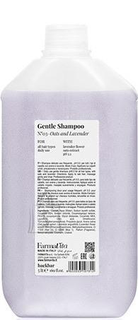 FarmaVita BACK.BAR Gentle Shampoo No.3 -õrn śampoon igapäevaseks kasutamiseks kaer + lavendel 5000ml