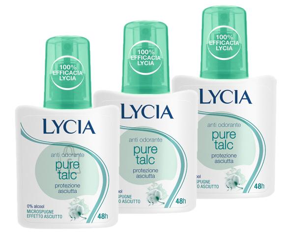 Lycia Pure Talc pihustiga deodorant higilõhna neutraliseerija 3tk x 75ml