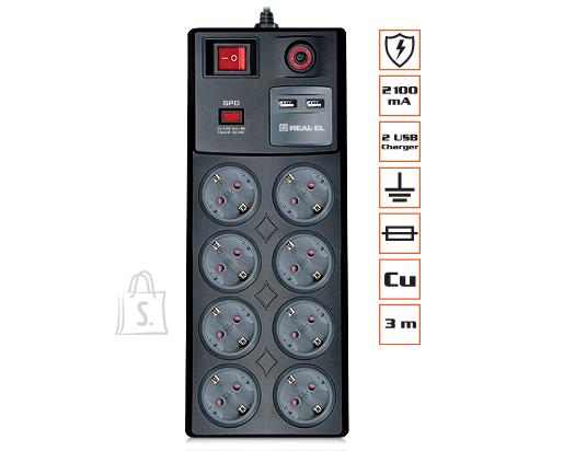 Pikendusjuhe võrgufiltriga REAL-EL RS-8F USB Charge