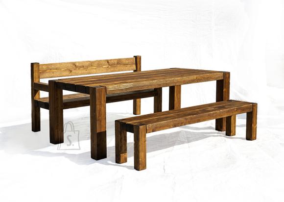 Terrassikomplekt Wolf 0011 suur laud ja 2 pinki (seljatoe ja käetugedega+ilma seljatoeta pink)