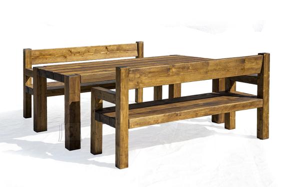 Terrassikomplekt Wolf 0013 suur laud ja 2 pinki (mõlemad seljatoega ja käetugedega)
