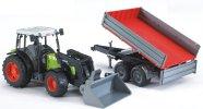 Bruder mängusõiduk traktor Claas Nectis 267F esilaaduri ja järelkäruga