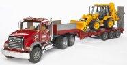 Bruder mängusõiduk Mack veoauto + JCB rataslaadur