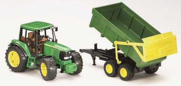 Bruder mängusõiduk John Deere traktor treileriga