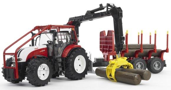 Bruder mängusõiduk Steyr traktor metsaveohaagisega