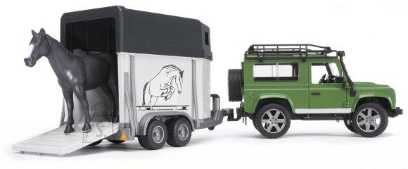 Bruder mängusõiduk Land Rover maastikuauto + hobusetreiler