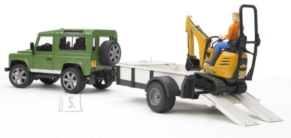 Bruder mängusõiduk Land Rover haagisega + JCB ekskavaator