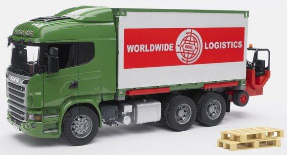 Bruder mängusõiduk Scania konteinerauto tõstukiga