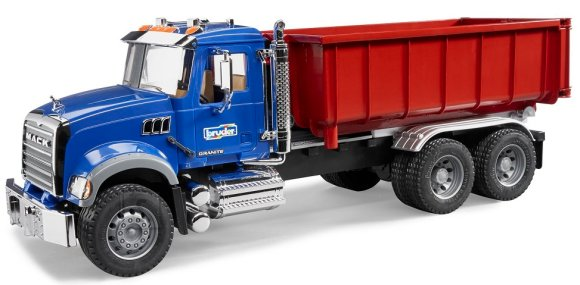 Bruder mängusõiduk veoauto Mack roll-off kontneineriga