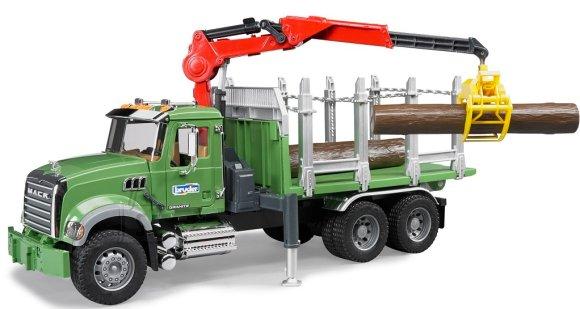 Bruder mängusõiduk Mack metsaveoauto kraanaga+ 3 palki
