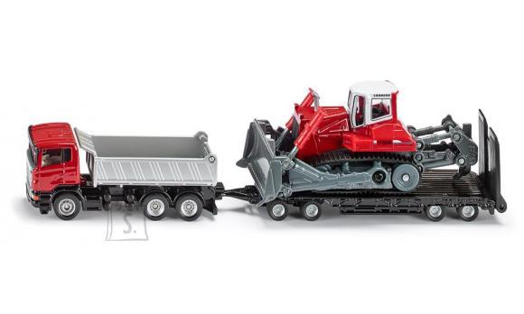 Siku mudelsõiduk veoauto treileri ja buldooseriga