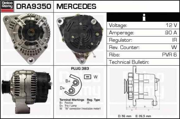 GENERAATOR MB,VW 90A +KORPUS