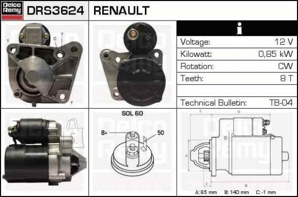 STARTER RENAULT 0,85KW +KORPUS