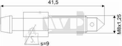 Õhutusnippel 8x1,25 S9 41,5mm