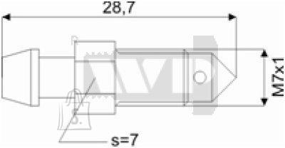 Õhutusnippel 7X1 S7 28,7mm