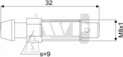 Õhutusnippel 8X1 S9 32mm