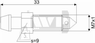 Õhutusnippel 7X1 S9 33mm