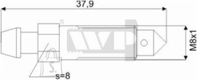 Õhutusnippel 8X1 S8 37,9mm