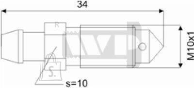 Õhutusnippel 10X1 S10 34mm