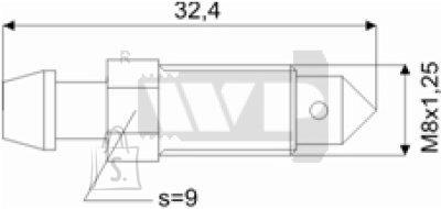 Õhutusnippel 8X1,25 S9 32,4mm