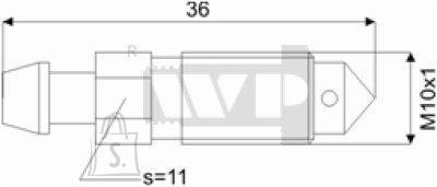 Õhutusnippel 10X1 S11 36mm