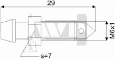 Õhutusnippel 6X1 S7 29mm