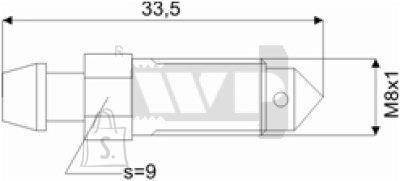 Õhutusnippel 8X1 S9 33,5mm