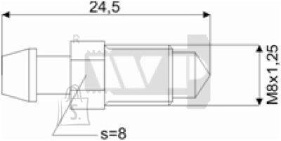 Õhutusnippel 8X1,25 S8 24,5mm