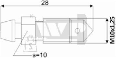 Õhutusnippel 8X1,25 S10 28mm
