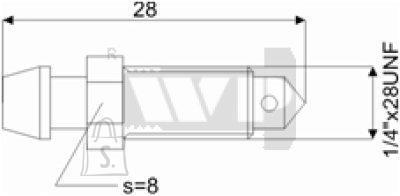 Õhutusnippel 1/4X28UNF S8 28mm