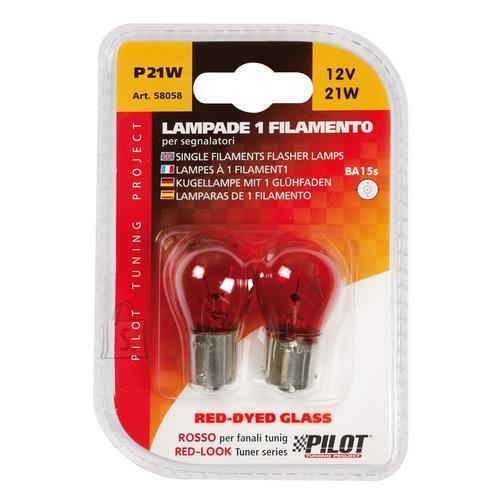 Lampa Pirnid 2tk, punane,  P21W - 21W - BA15s