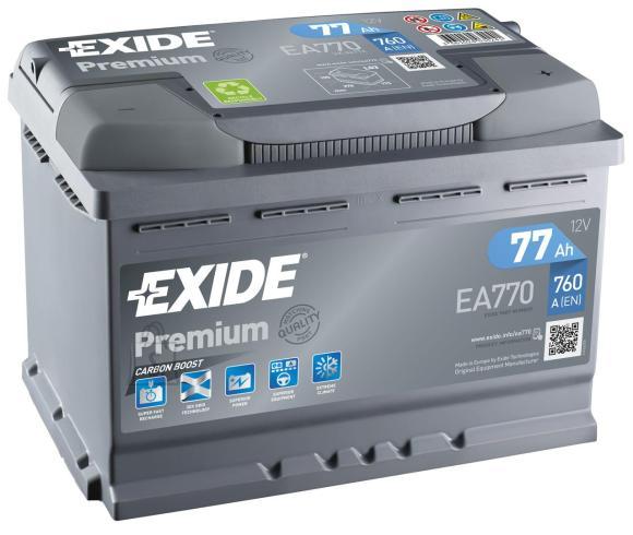 Exide Aku Premium 77Ah760A 278x175x190 -+