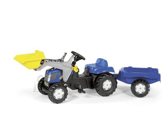 Rolly Toys New Holland TVT190 pedaalidega traktor lastele käru ja kopaga