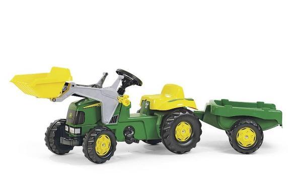 Rolly Toys Pedaalidega traktor lastele kopa ja käruga John Deere