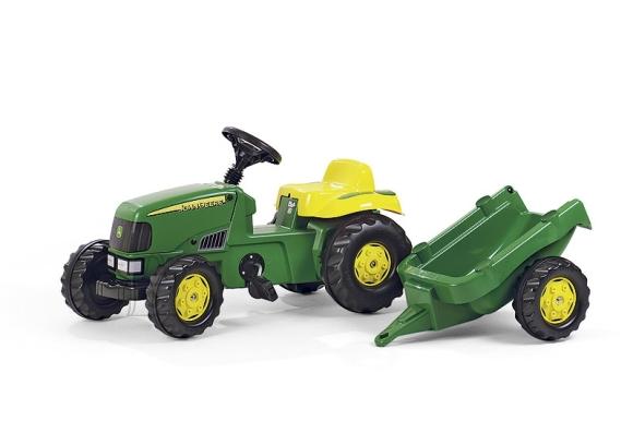 John Deere pedaalidega traktor lastele käruga