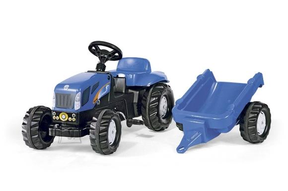 Rolly Toys New Holland TVT190 pedaalidega traktor lastele käruga