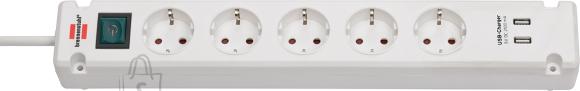 Brennenstuhl pikendusjuhe 3G1,5 5p 3m 2XUSB valge seinale kinnitatav Bremounta