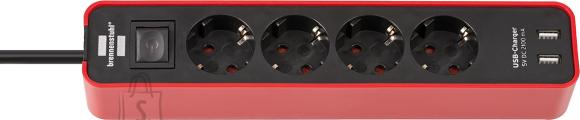 Brennenstuhl pikendusjuhe 3G1,5 4p 1,5m 2XUSB punane Ecolor