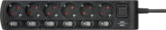 Brennenstuhl pikendusjuhe 3G1,5 6p 2m must, 6 eraldi lülitiga