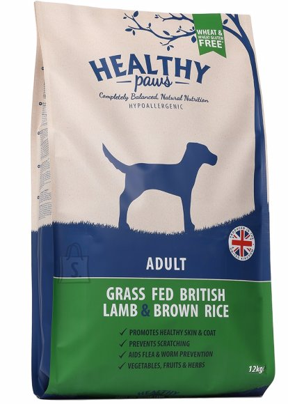 Healthy Paws koeratoit Briti Lambaliha & Pruuni Riisiga 12kg
