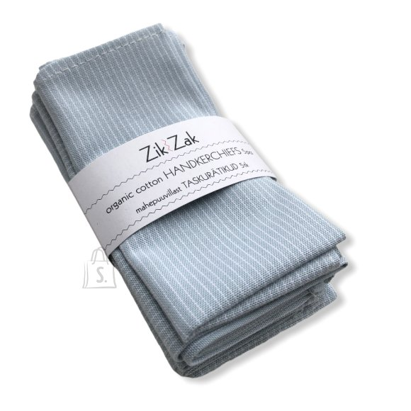 Zik-Zak Mahepuuvillast helesinise-valgetriibulised taskurätikud/salvrätikud, 5tk