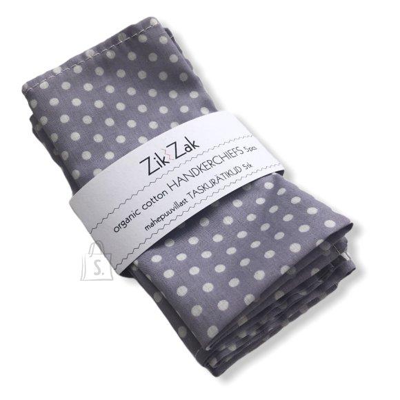 Zik-Zak Mahepuuvillast lilla-valgetäpilised taskurätikud/salvrätikud, 5tk