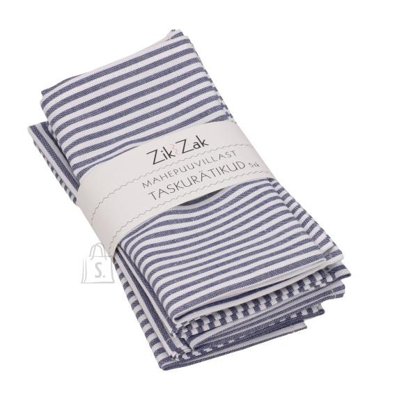 Zik-Zak Mahepuuvillast sinakashalli-valgetriibulised taskurätikud/salvrätikud, 5tk