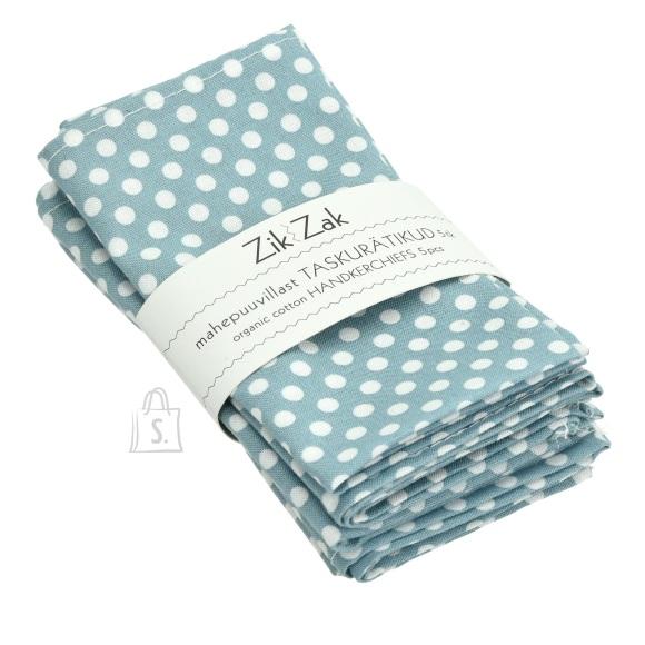 Zik-Zak Zik-Zak, Mahepuuvillast sinise-valgetäpilised taskurätikud/salvrätikud, 5tk