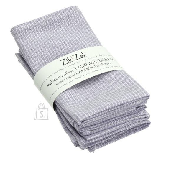 Zik-Zak Mahepuuvillast helelilla-valgetriibulised taskurätikud/salvrätikud, 5tk