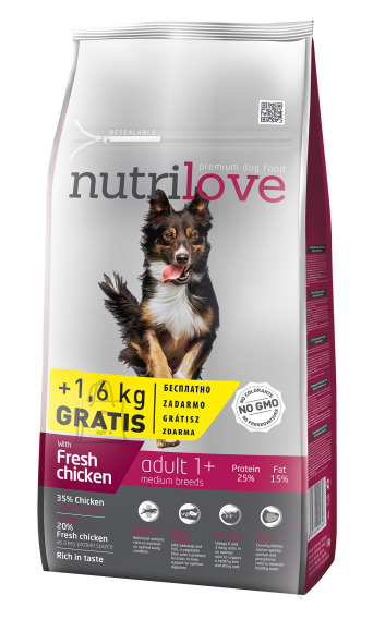 Nutrilove dog dry ADULT M  fresh chicken 8kg+1,6kg