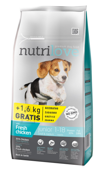 Nutrilove dog dry JUNIOR S&M  fresh chicken 8kg+1,6kg